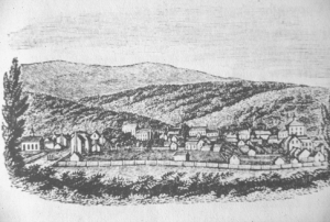 Drawing shows the Town of Fincastle c. 1840 From Howe's Historical Collection of Virginia